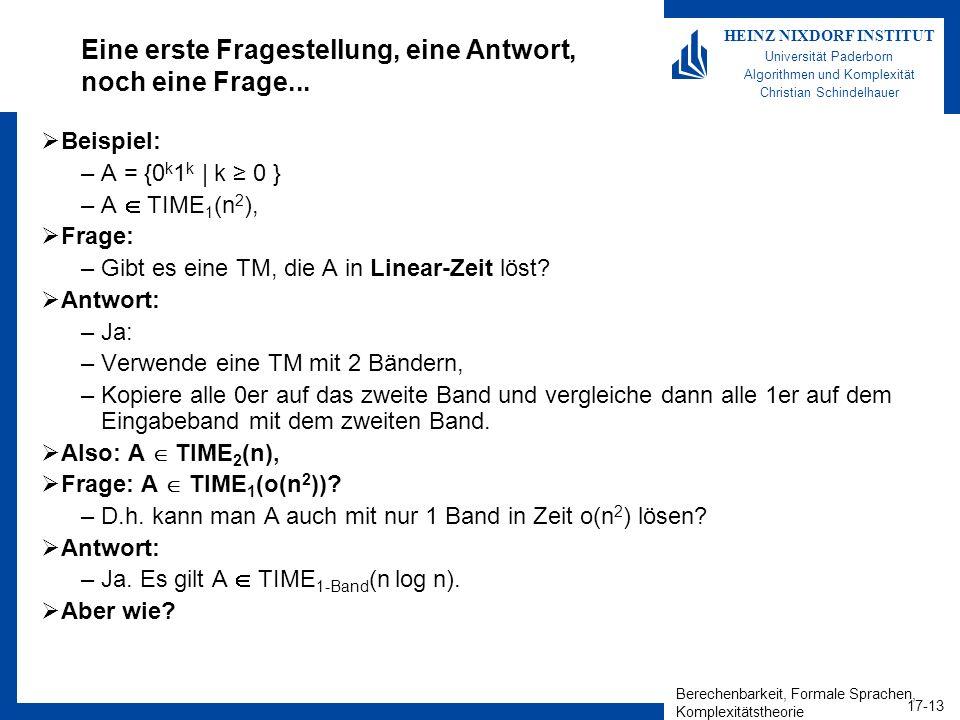 Berechenbarkeit, Formale Sprachen, Komplexitätstheorie 17-13 HEINZ NIXDORF INSTITUT Universität Paderborn Algorithmen und Komplexität Christian Schind