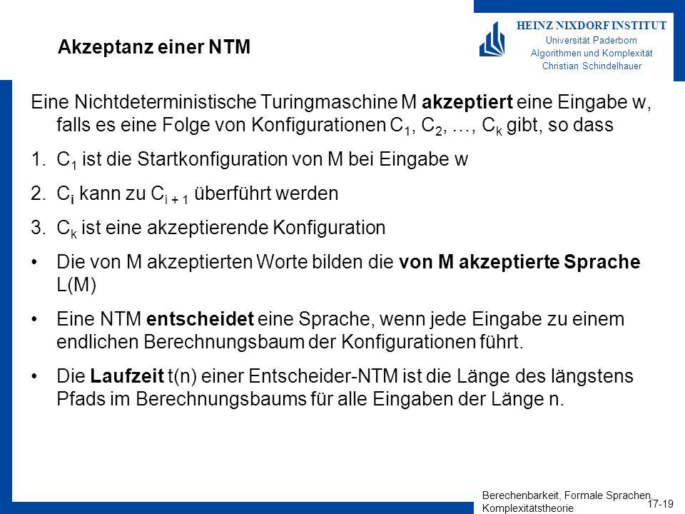 Berechenbarkeit, Formale Sprachen, Komplexitätstheorie 17-19 HEINZ NIXDORF INSTITUT Universität Paderborn Algorithmen und Komplexität Christian Schind