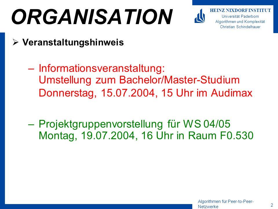 Algorithmen für Peer-to-Peer- Netzwerke 3 HEINZ NIXDORF INSTITUT Universität Paderborn Algorithmen und Komplexität Christian Schindelhauer ORGANISATION Nächste Vorlesung –Freitag 9 Uhr 23.07.2004, 9-11 Uhr F0.530 –Kommenden Freitag, Übungen für Gruppe A+B Letzte Vorlesung: Freitag 9 Uhr 30.07., 9-11 Uhr F0.530 –Gastdozent Prof.