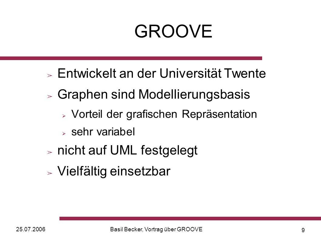 25.07.2006Basil Becker, Vortrag über GROOVE 9 GROOVE Entwickelt an der Universität Twente Graphen sind Modellierungsbasis Vorteil der grafischen Repräsentation sehr variabel nicht auf UML festgelegt Vielfältig einsetzbar