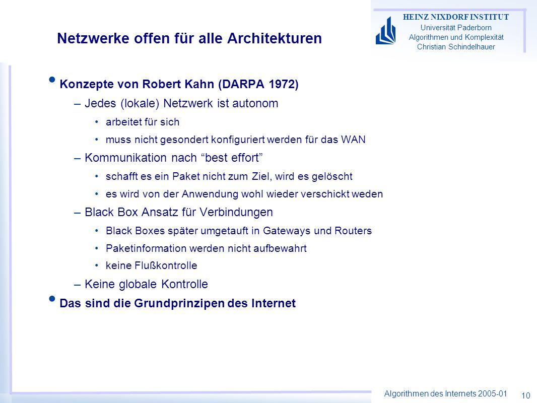 Algorithmen des Internets 2005-01 HEINZ NIXDORF INSTITUT Universität Paderborn Algorithmen und Komplexität Christian Schindelhauer 10 Netzwerke offen