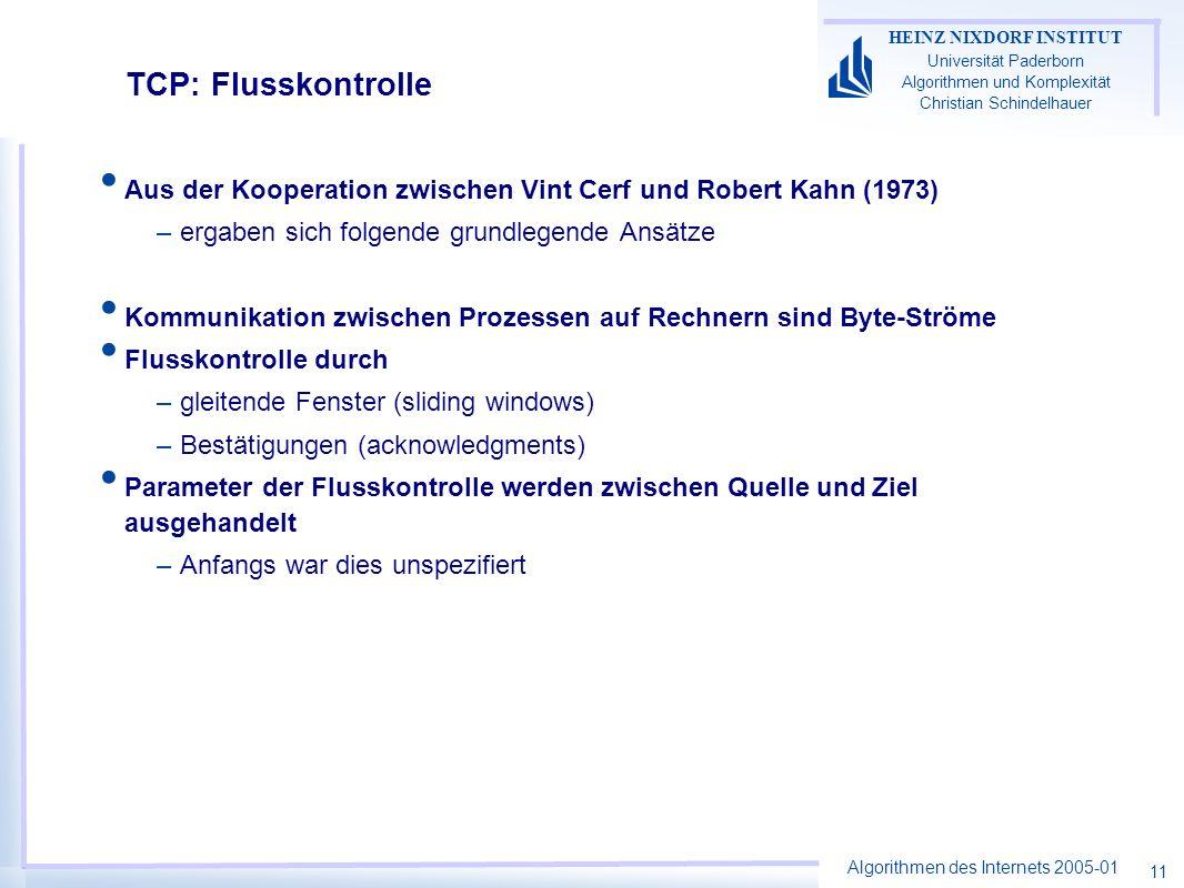 Algorithmen des Internets 2005-01 HEINZ NIXDORF INSTITUT Universität Paderborn Algorithmen und Komplexität Christian Schindelhauer 11 TCP: Flusskontro