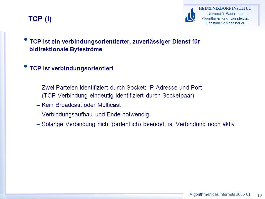 Algorithmen des Internets 2005-01 HEINZ NIXDORF INSTITUT Universität Paderborn Algorithmen und Komplexität Christian Schindelhauer 16 TCP (I) TCP ist