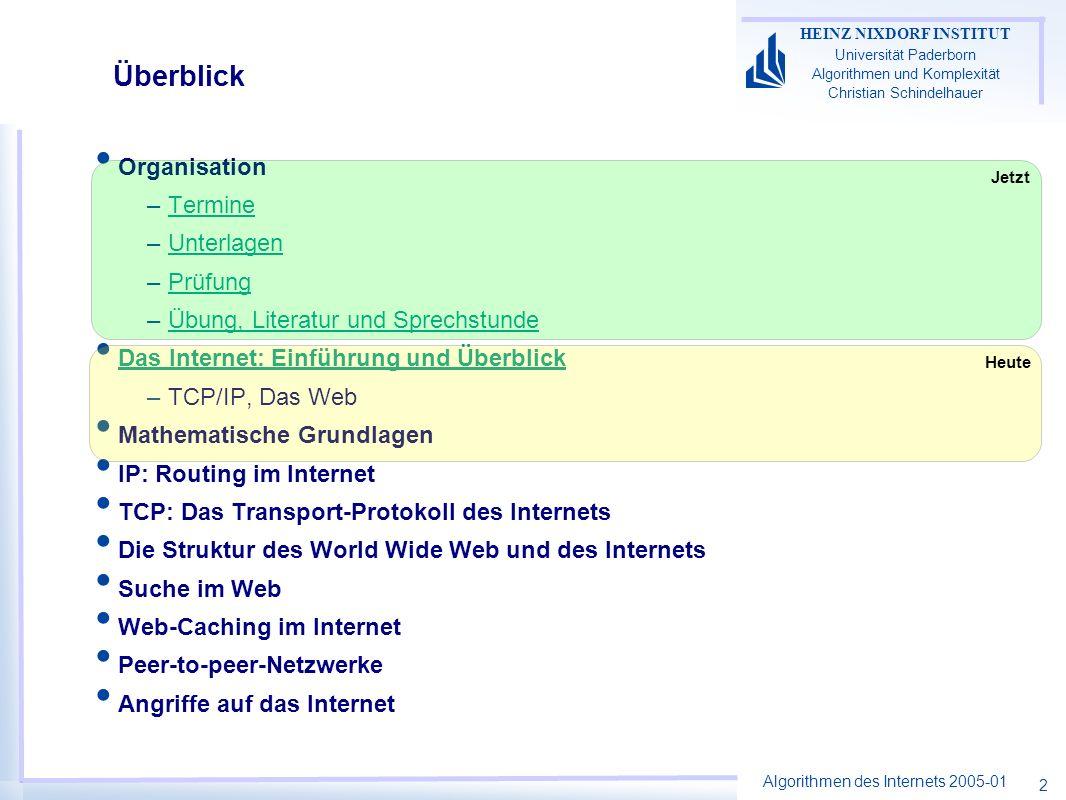 Algorithmen des Internets 2005-01 HEINZ NIXDORF INSTITUT Universität Paderborn Algorithmen und Komplexität Christian Schindelhauer 2 Überblick Organis