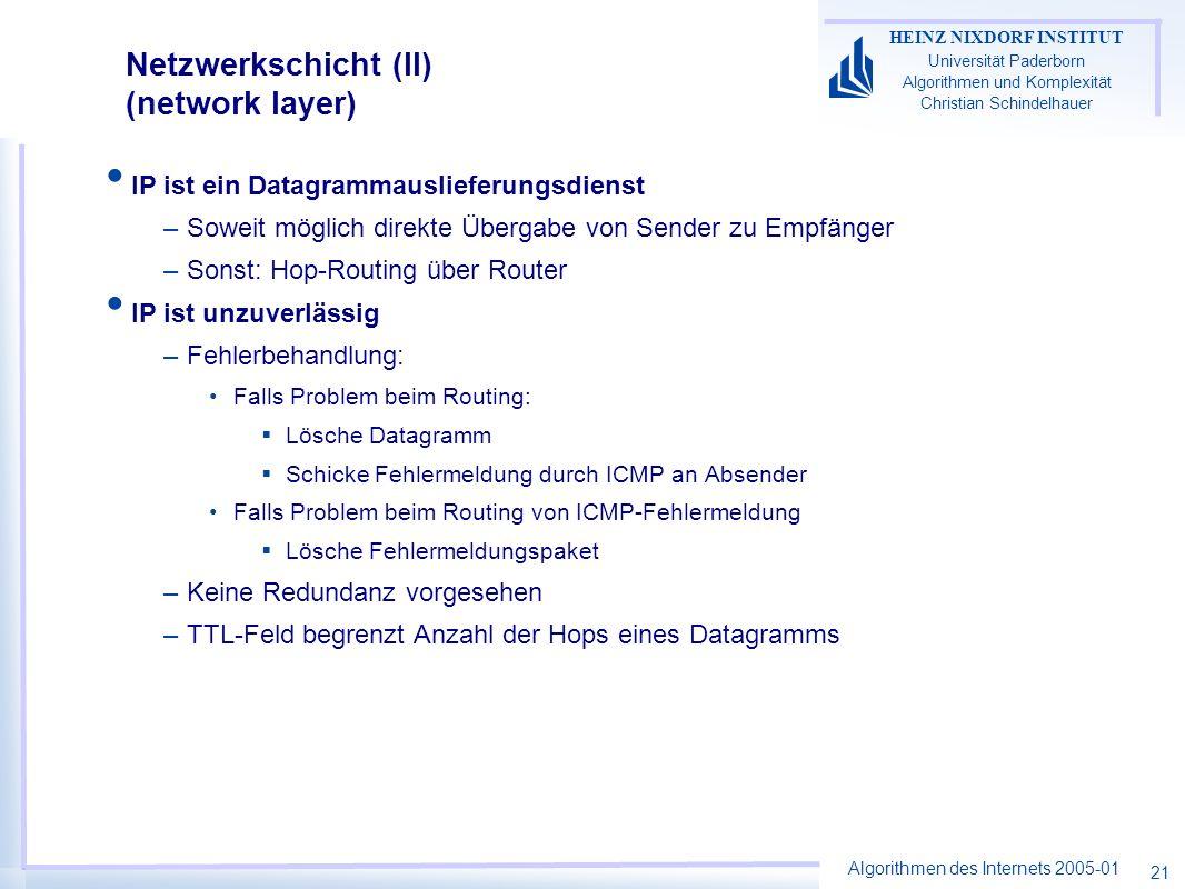 Algorithmen des Internets 2005-01 HEINZ NIXDORF INSTITUT Universität Paderborn Algorithmen und Komplexität Christian Schindelhauer 21 Netzwerkschicht