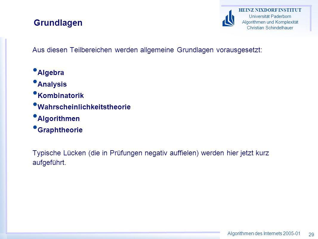 Algorithmen des Internets 2005-01 HEINZ NIXDORF INSTITUT Universität Paderborn Algorithmen und Komplexität Christian Schindelhauer 29 Grundlagen Aus d