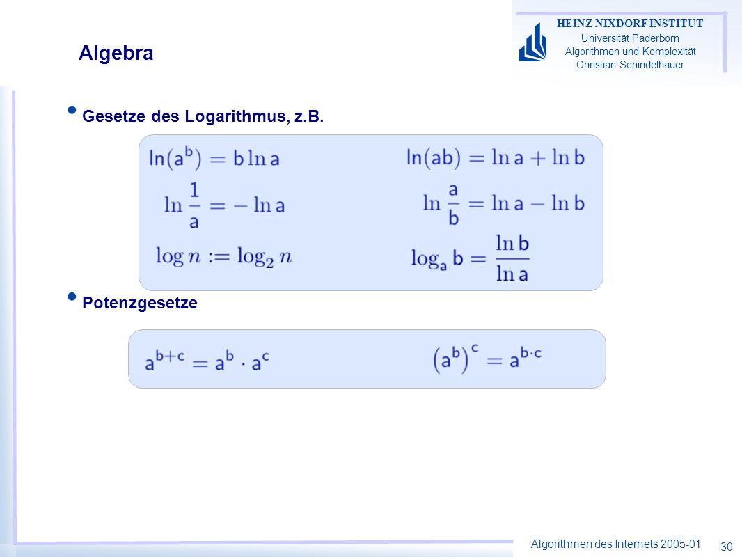 Algorithmen des Internets 2005-01 HEINZ NIXDORF INSTITUT Universität Paderborn Algorithmen und Komplexität Christian Schindelhauer 30 Gesetze des Loga
