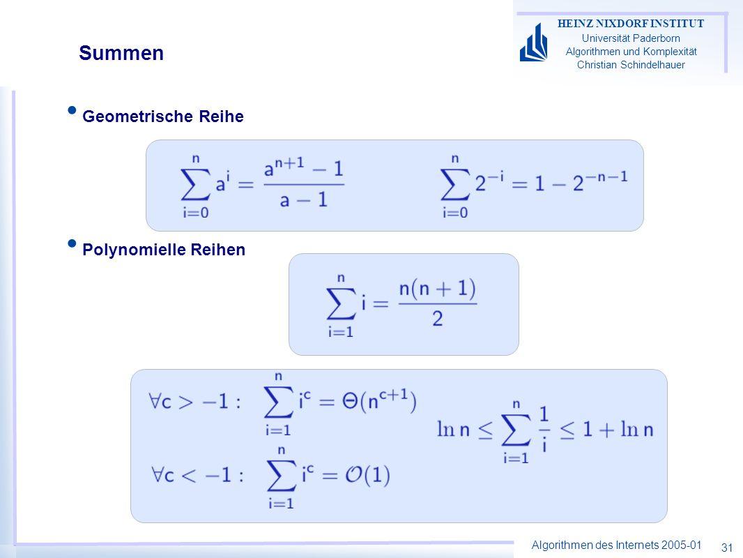 Algorithmen des Internets 2005-01 HEINZ NIXDORF INSTITUT Universität Paderborn Algorithmen und Komplexität Christian Schindelhauer 31 Geometrische Rei