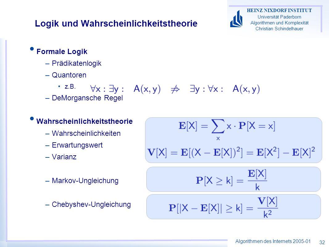 Algorithmen des Internets 2005-01 HEINZ NIXDORF INSTITUT Universität Paderborn Algorithmen und Komplexität Christian Schindelhauer 32 Formale Logik –P