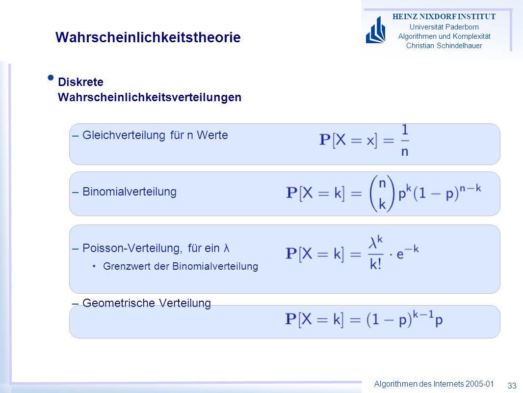 Algorithmen des Internets 2005-01 HEINZ NIXDORF INSTITUT Universität Paderborn Algorithmen und Komplexität Christian Schindelhauer 33 Wahrscheinlichke