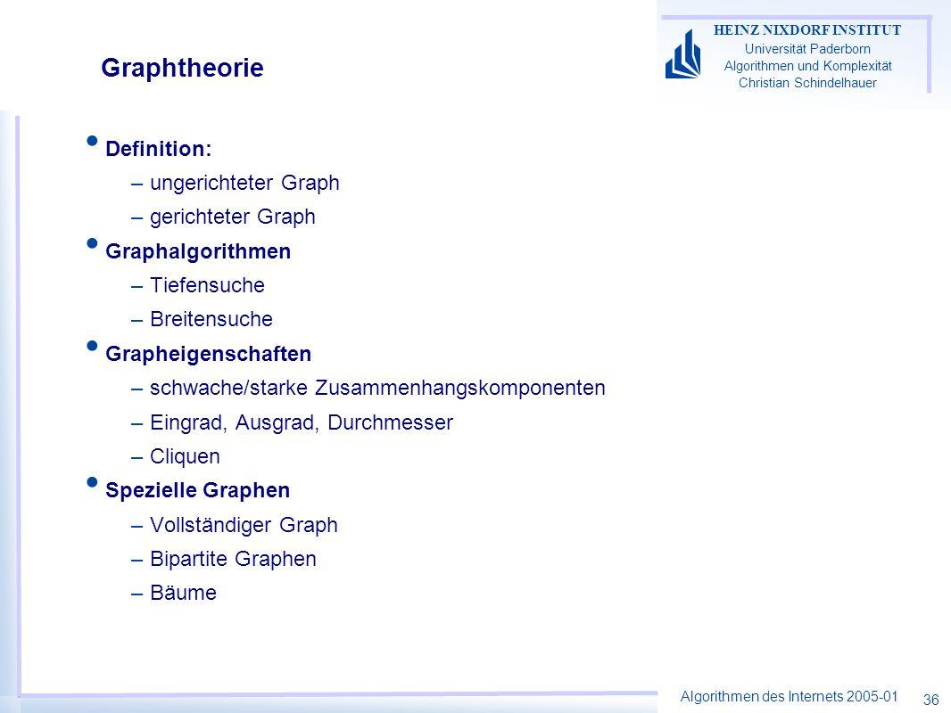 Algorithmen des Internets 2005-01 HEINZ NIXDORF INSTITUT Universität Paderborn Algorithmen und Komplexität Christian Schindelhauer 36 Graphtheorie Def