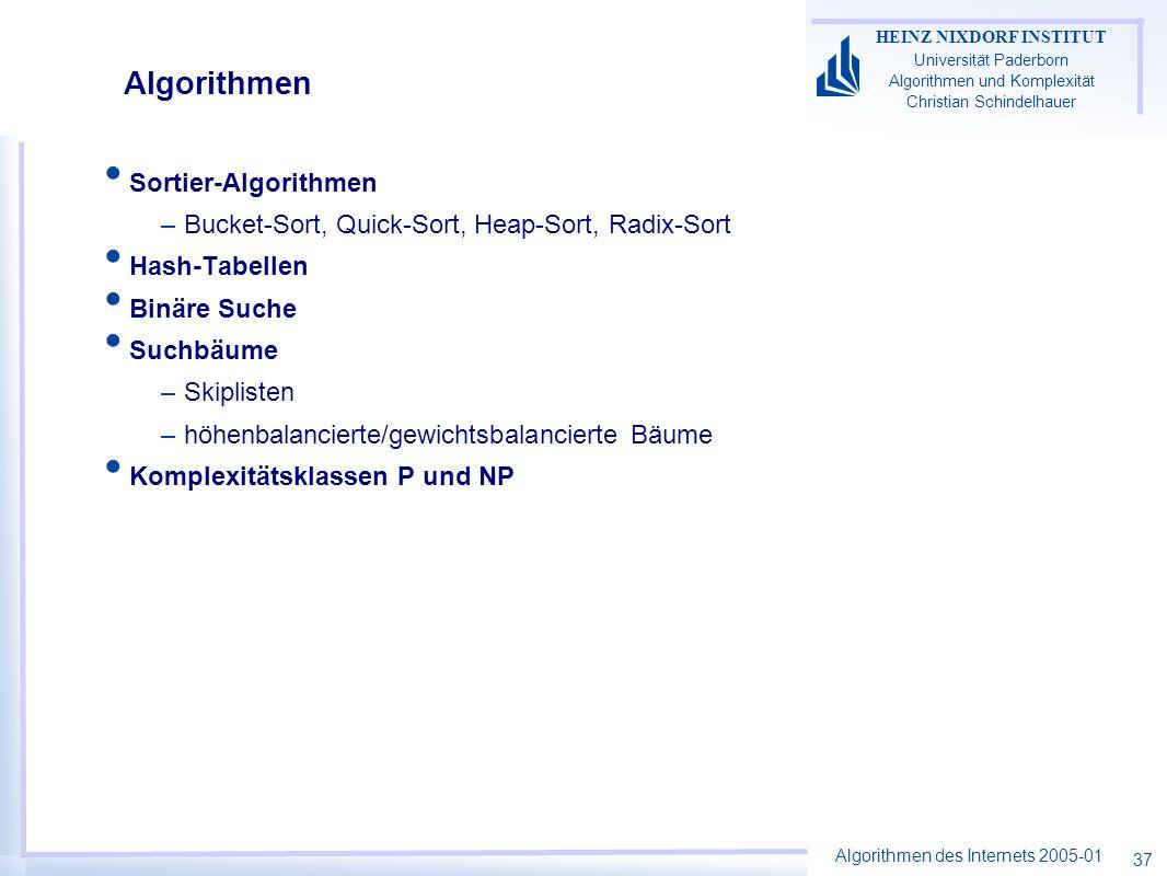 Algorithmen des Internets 2005-01 HEINZ NIXDORF INSTITUT Universität Paderborn Algorithmen und Komplexität Christian Schindelhauer 37 Algorithmen Sort