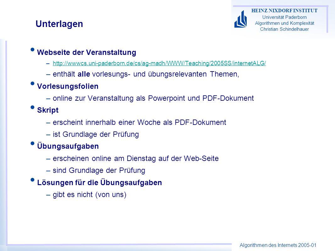 Algorithmen des Internets 2005-01 HEINZ NIXDORF INSTITUT Universität Paderborn Algorithmen und Komplexität Christian Schindelhauer Unterlagen Webseite