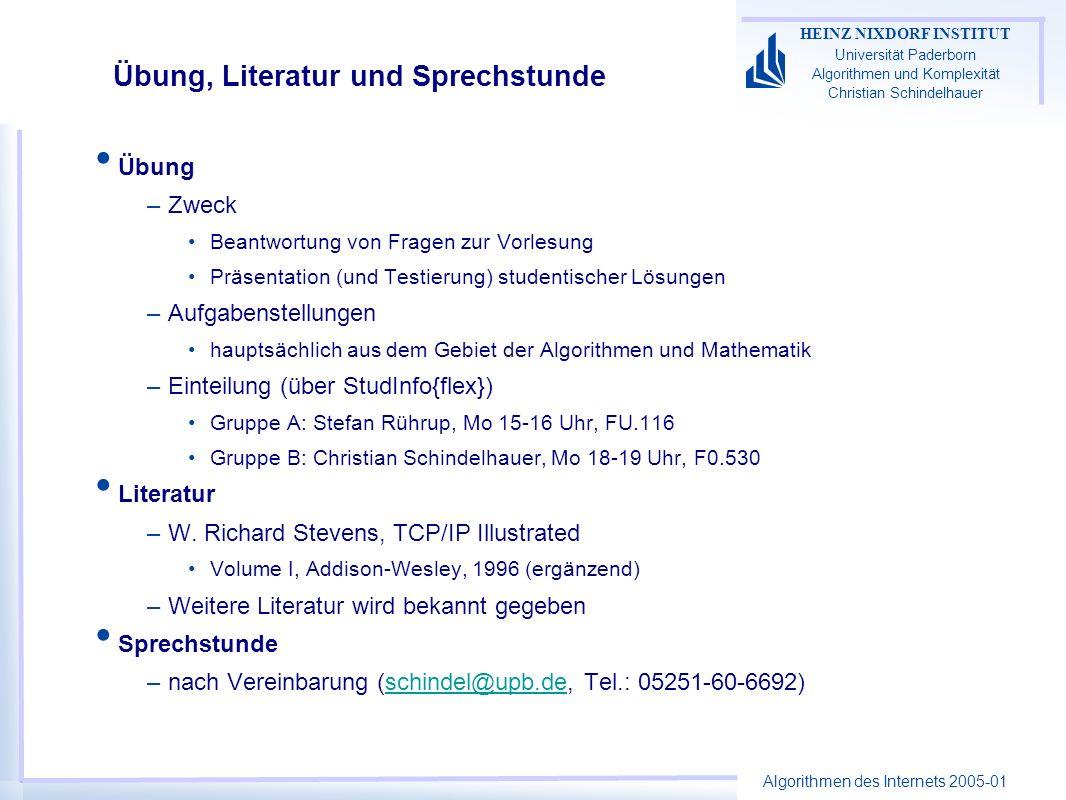 Algorithmen des Internets 2005-01 HEINZ NIXDORF INSTITUT Universität Paderborn Algorithmen und Komplexität Christian Schindelhauer Übung, Literatur un