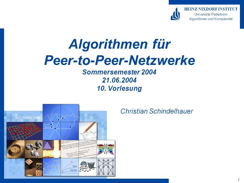 1 HEINZ NIXDORF INSTITUT Universität Paderborn Algorithmen und Komplexität Algorithmen für Peer-to-Peer-Netzwerke Sommersemester 2004 21.06.2004 10.