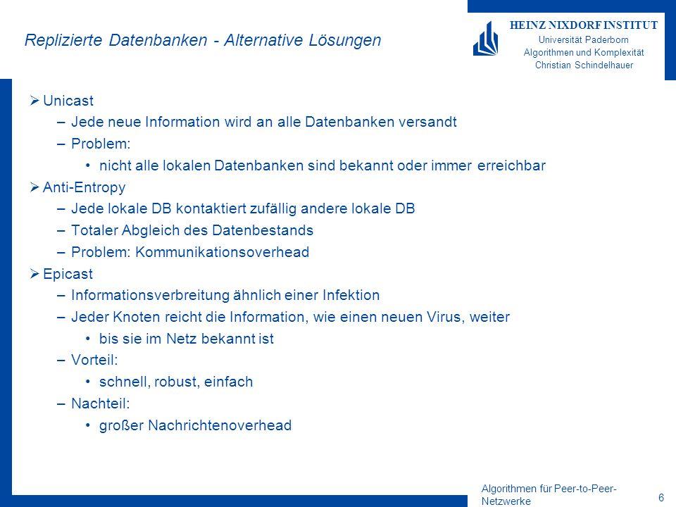 Algorithmen für Peer-to-Peer- Netzwerke 6 HEINZ NIXDORF INSTITUT Universität Paderborn Algorithmen und Komplexität Christian Schindelhauer Replizierte Datenbanken - Alternative Lösungen Unicast –Jede neue Information wird an alle Datenbanken versandt –Problem: nicht alle lokalen Datenbanken sind bekannt oder immer erreichbar Anti-Entropy –Jede lokale DB kontaktiert zufällig andere lokale DB –Totaler Abgleich des Datenbestands –Problem: Kommunikationsoverhead Epicast –Informationsverbreitung ähnlich einer Infektion –Jeder Knoten reicht die Information, wie einen neuen Virus, weiter bis sie im Netz bekannt ist –Vorteil: schnell, robust, einfach –Nachteil: großer Nachrichtenoverhead