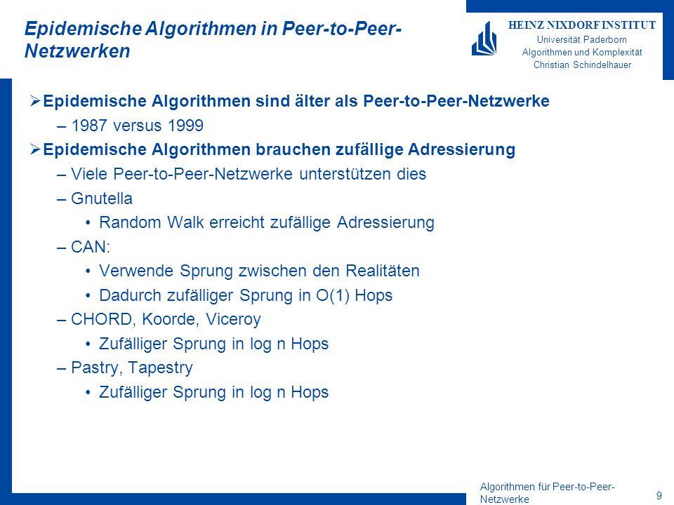 Algorithmen für Peer-to-Peer- Netzwerke 9 HEINZ NIXDORF INSTITUT Universität Paderborn Algorithmen und Komplexität Christian Schindelhauer Epidemische Algorithmen in Peer-to-Peer- Netzwerken Epidemische Algorithmen sind älter als Peer-to-Peer-Netzwerke –1987 versus 1999 Epidemische Algorithmen brauchen zufällige Adressierung –Viele Peer-to-Peer-Netzwerke unterstützen dies –Gnutella Random Walk erreicht zufällige Adressierung –CAN: Verwende Sprung zwischen den Realitäten Dadurch zufälliger Sprung in O(1) Hops –CHORD, Koorde, Viceroy Zufälliger Sprung in log n Hops –Pastry, Tapestry Zufälliger Sprung in log n Hops