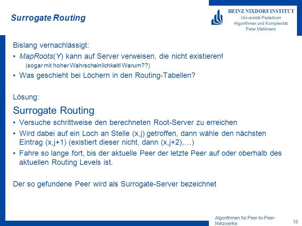 Algorithmen für Peer-to-Peer- Netzwerke 15 HEINZ NIXDORF INSTITUT Universität Paderborn Algorithmen und Komplexität Peter Mahlmann Surrogate Routing Bislang vernachlässigt: MapRoots(Y) kann auf Server verweisen, die nicht existieren.