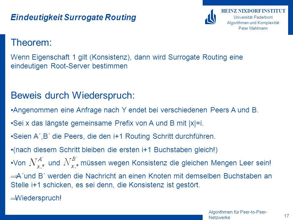 Algorithmen für Peer-to-Peer- Netzwerke 17 HEINZ NIXDORF INSTITUT Universität Paderborn Algorithmen und Komplexität Peter Mahlmann Eindeutigkeit Surrogate Routing Theorem: Wenn Eigenschaft 1 gilt (Konsistenz), dann wird Surrogate Routing eine eindeutigen Root-Server bestimmen Beweis durch Wiederspruch: Angenommen eine Anfrage nach Y endet bei verschiedenen Peers A und B.