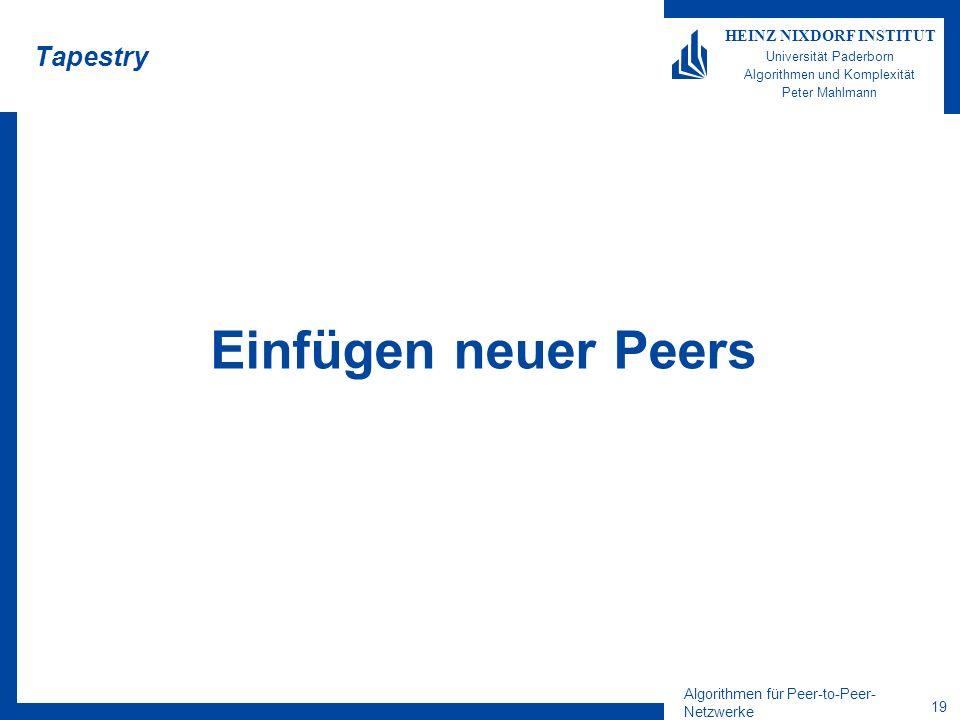 Algorithmen für Peer-to-Peer- Netzwerke 19 HEINZ NIXDORF INSTITUT Universität Paderborn Algorithmen und Komplexität Peter Mahlmann Tapestry Einfügen neuer Peers