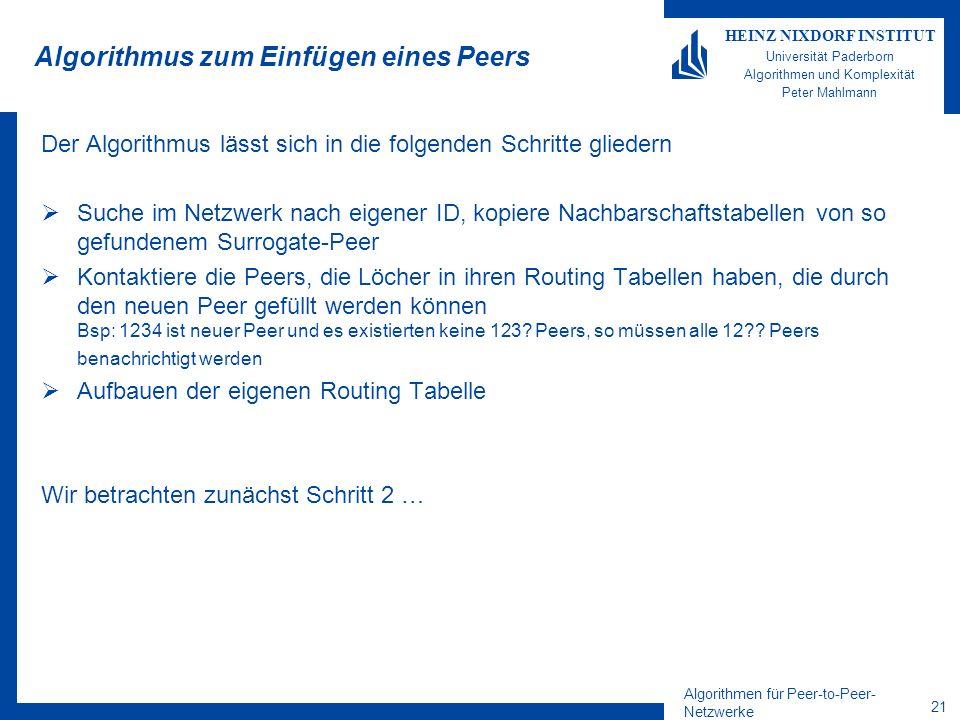 Algorithmen für Peer-to-Peer- Netzwerke 21 HEINZ NIXDORF INSTITUT Universität Paderborn Algorithmen und Komplexität Peter Mahlmann Algorithmus zum Einfügen eines Peers Der Algorithmus lässt sich in die folgenden Schritte gliedern Suche im Netzwerk nach eigener ID, kopiere Nachbarschaftstabellen von so gefundenem Surrogate-Peer Kontaktiere die Peers, die Löcher in ihren Routing Tabellen haben, die durch den neuen Peer gefüllt werden können Bsp: 1234 ist neuer Peer und es existierten keine 123.