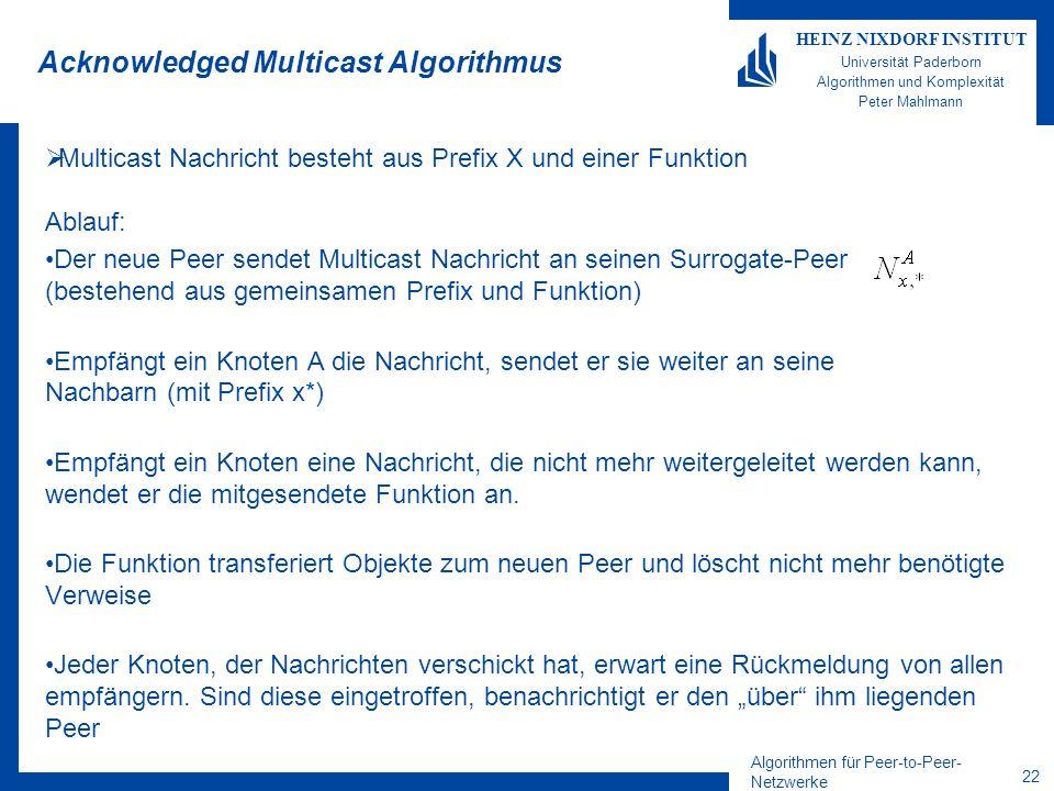 Algorithmen für Peer-to-Peer- Netzwerke 22 HEINZ NIXDORF INSTITUT Universität Paderborn Algorithmen und Komplexität Peter Mahlmann Acknowledged Multicast Algorithmus Multicast Nachricht besteht aus Prefix X und einer Funktion Ablauf: Der neue Peer sendet Multicast Nachricht an seinen Surrogate-Peer (bestehend aus gemeinsamen Prefix und Funktion) Empfängt ein Knoten A die Nachricht, sendet er sie weiter an seine Nachbarn (mit Prefix x*) Empfängt ein Knoten eine Nachricht, die nicht mehr weitergeleitet werden kann, wendet er die mitgesendete Funktion an.