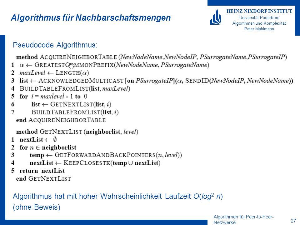 Algorithmen für Peer-to-Peer- Netzwerke 27 HEINZ NIXDORF INSTITUT Universität Paderborn Algorithmen und Komplexität Peter Mahlmann Algorithmus für Nachbarschaftsmengen Pseudocode Algorithmus: Algorithmus hat mit hoher Wahrscheinlichkeit Laufzeit O(log 2 n) (ohne Beweis)