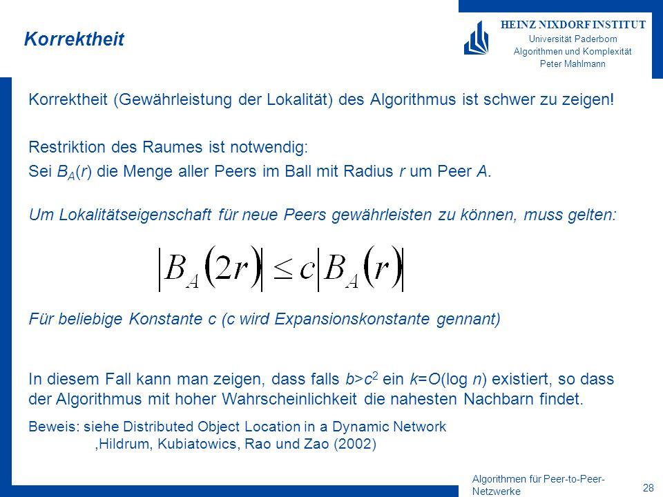 Algorithmen für Peer-to-Peer- Netzwerke 28 HEINZ NIXDORF INSTITUT Universität Paderborn Algorithmen und Komplexität Peter Mahlmann Korrektheit Korrektheit (Gewährleistung der Lokalität) des Algorithmus ist schwer zu zeigen.