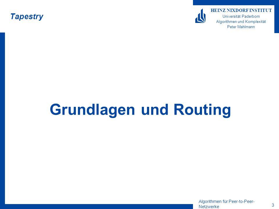 Algorithmen für Peer-to-Peer- Netzwerke 14 HEINZ NIXDORF INSTITUT Universität Paderborn Algorithmen und Komplexität Peter Mahlmann Fehlertoleranz Beobachtung 1: Wenn |R Y | >1 und die Root-Server in R Y unabhängig voneinander sind (uniformes Hashing), können fehlgeschlagene Suchen mit einem anderen Root-Server wiederholt werden.