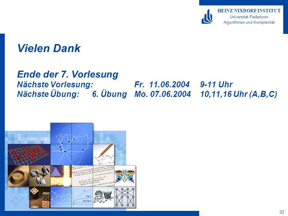 32 HEINZ NIXDORF INSTITUT Universität Paderborn Algorithmen und Komplexität Vielen Dank Ende der 7.