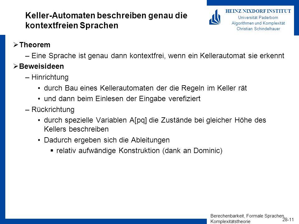 Berechenbarkeit, Formale Sprachen, Komplexitätstheorie 28-11 HEINZ NIXDORF INSTITUT Universität Paderborn Algorithmen und Komplexität Christian Schind