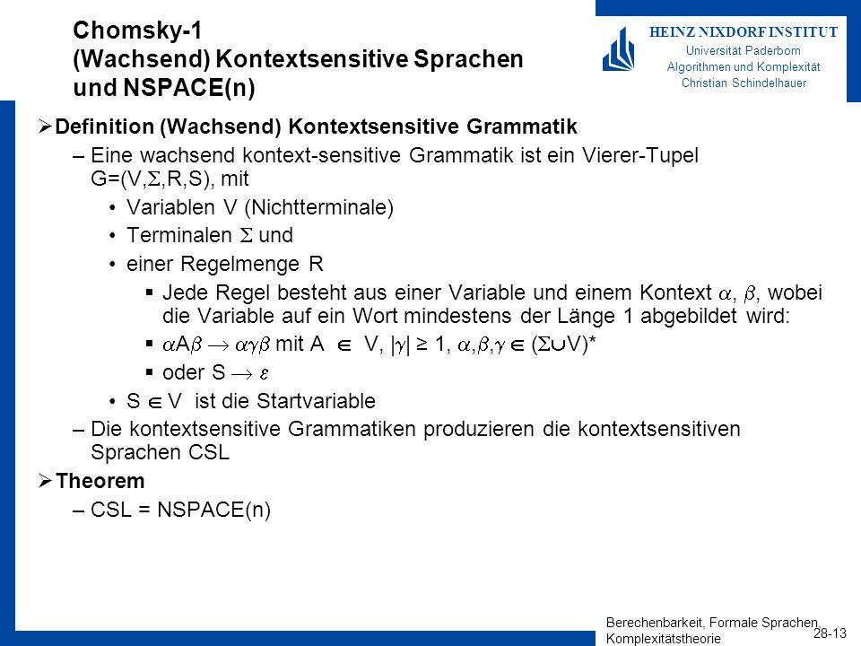 Berechenbarkeit, Formale Sprachen, Komplexitätstheorie 28-13 HEINZ NIXDORF INSTITUT Universität Paderborn Algorithmen und Komplexität Christian Schind