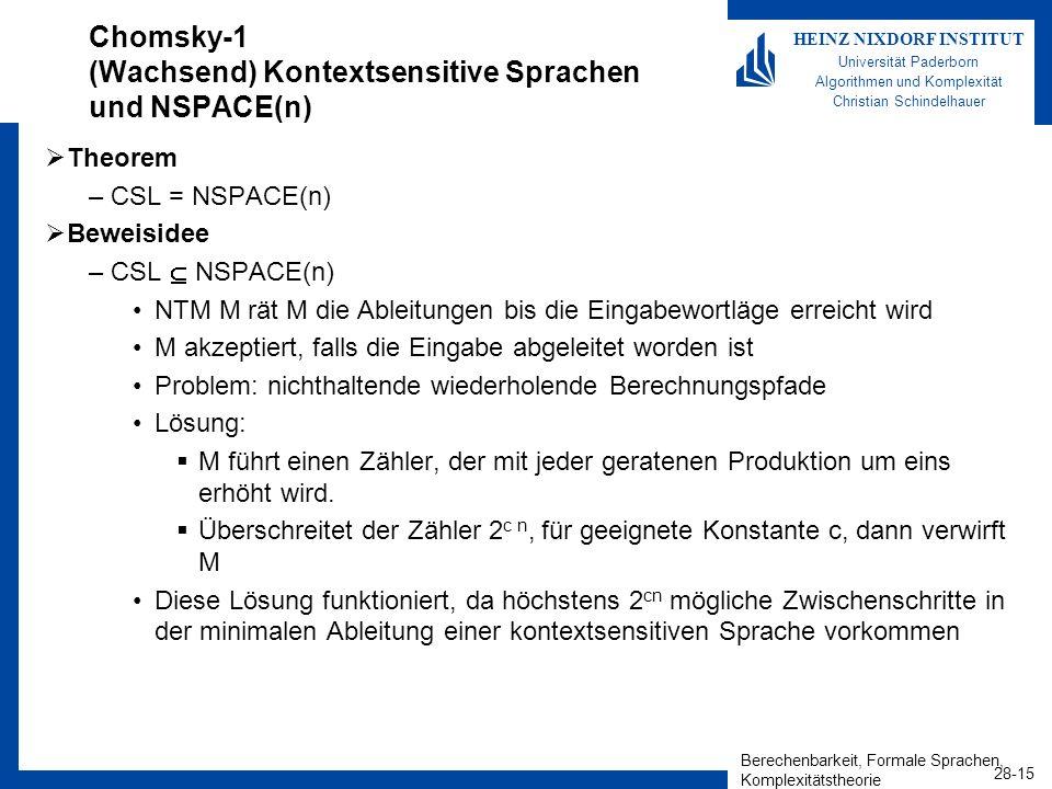 Berechenbarkeit, Formale Sprachen, Komplexitätstheorie 28-15 HEINZ NIXDORF INSTITUT Universität Paderborn Algorithmen und Komplexität Christian Schind