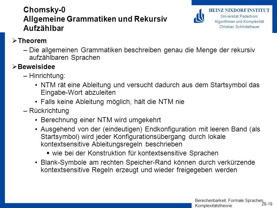 Berechenbarkeit, Formale Sprachen, Komplexitätstheorie 28-18 HEINZ NIXDORF INSTITUT Universität Paderborn Algorithmen und Komplexität Christian Schind