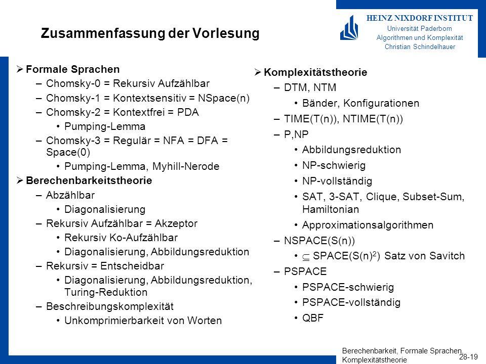 Berechenbarkeit, Formale Sprachen, Komplexitätstheorie 28-19 HEINZ NIXDORF INSTITUT Universität Paderborn Algorithmen und Komplexität Christian Schind
