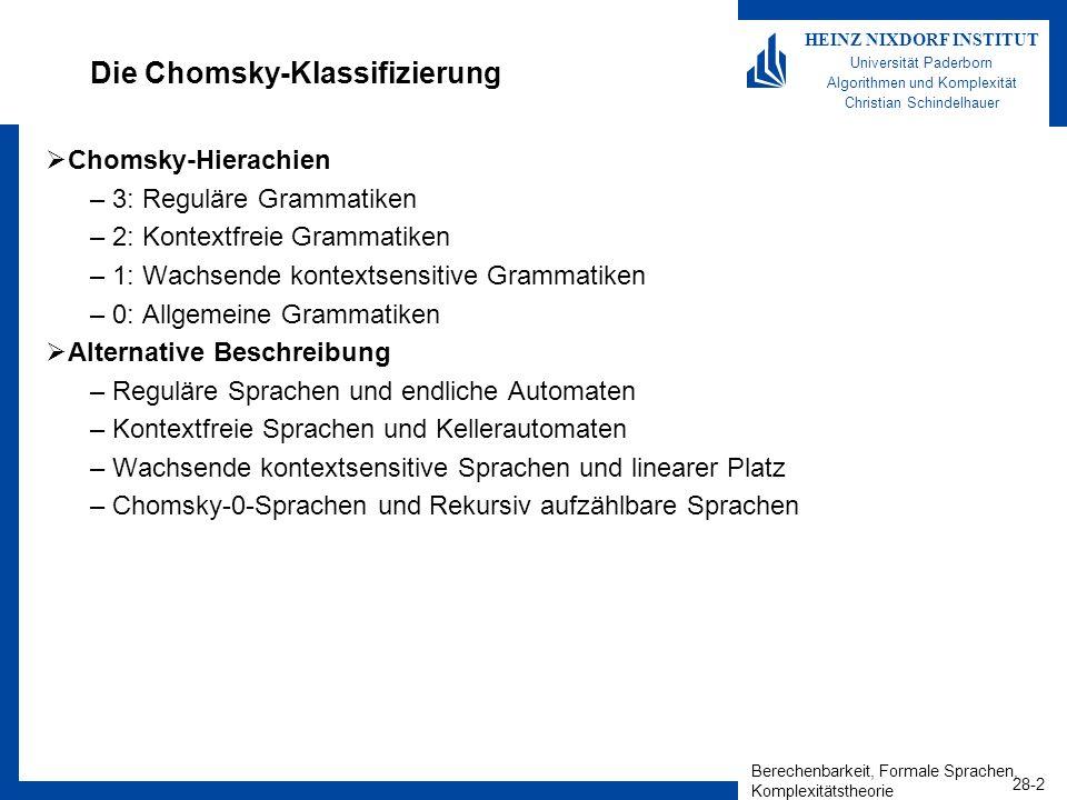 Berechenbarkeit, Formale Sprachen, Komplexitätstheorie 28-2 HEINZ NIXDORF INSTITUT Universität Paderborn Algorithmen und Komplexität Christian Schinde
