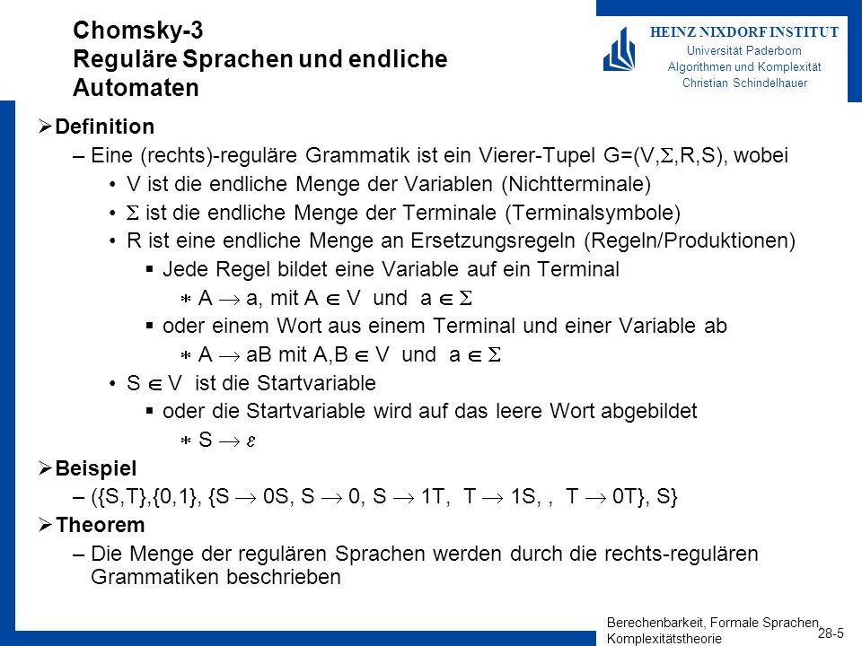 Berechenbarkeit, Formale Sprachen, Komplexitätstheorie 28-5 HEINZ NIXDORF INSTITUT Universität Paderborn Algorithmen und Komplexität Christian Schinde
