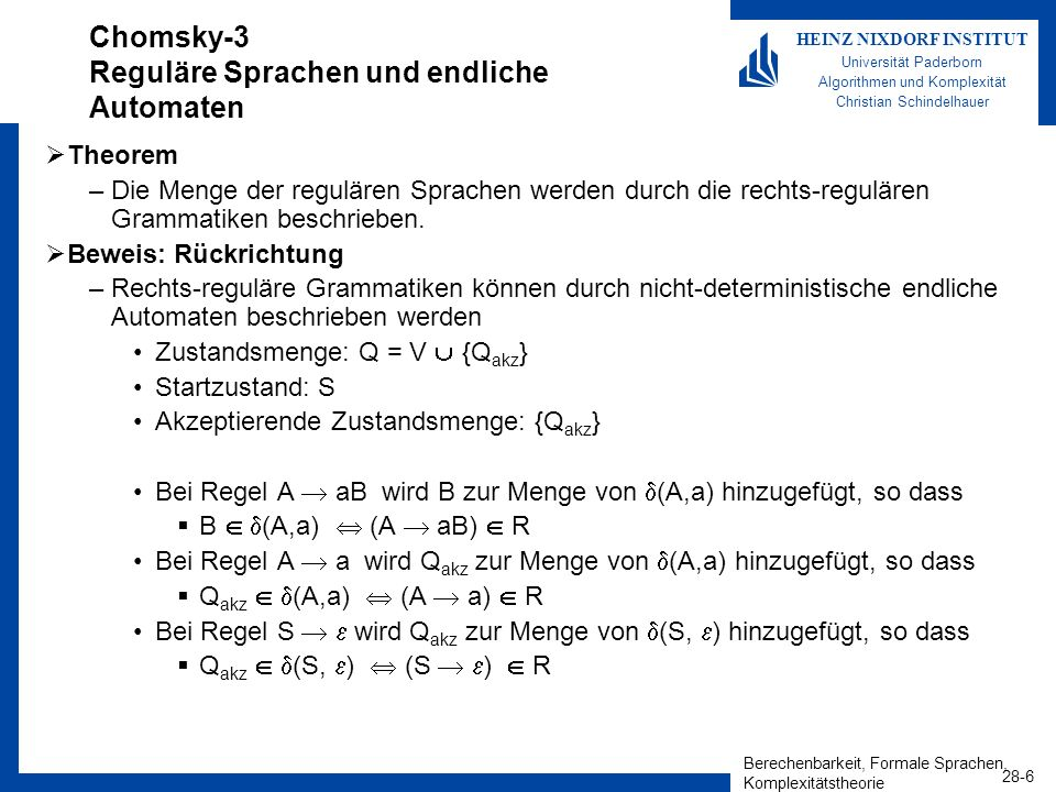 Berechenbarkeit, Formale Sprachen, Komplexitätstheorie 28-6 HEINZ NIXDORF INSTITUT Universität Paderborn Algorithmen und Komplexität Christian Schinde
