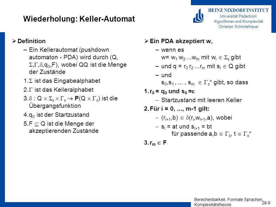 Berechenbarkeit, Formale Sprachen, Komplexitätstheorie 28-9 HEINZ NIXDORF INSTITUT Universität Paderborn Algorithmen und Komplexität Christian Schinde