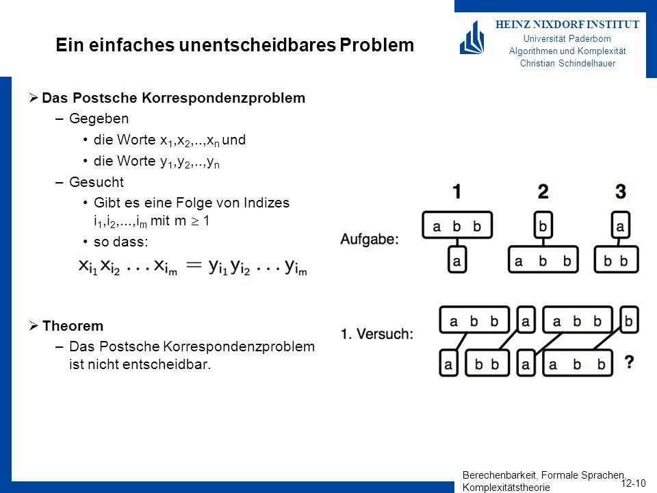 Berechenbarkeit, Formale Sprachen, Komplexitätstheorie 12-10 HEINZ NIXDORF INSTITUT Universität Paderborn Algorithmen und Komplexität Christian Schind