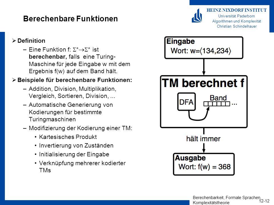 Berechenbarkeit, Formale Sprachen, Komplexitätstheorie 12-12 HEINZ NIXDORF INSTITUT Universität Paderborn Algorithmen und Komplexität Christian Schind