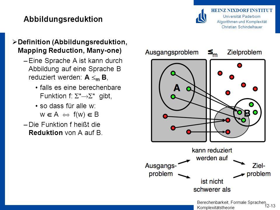 Berechenbarkeit, Formale Sprachen, Komplexitätstheorie 12-13 HEINZ NIXDORF INSTITUT Universität Paderborn Algorithmen und Komplexität Christian Schind