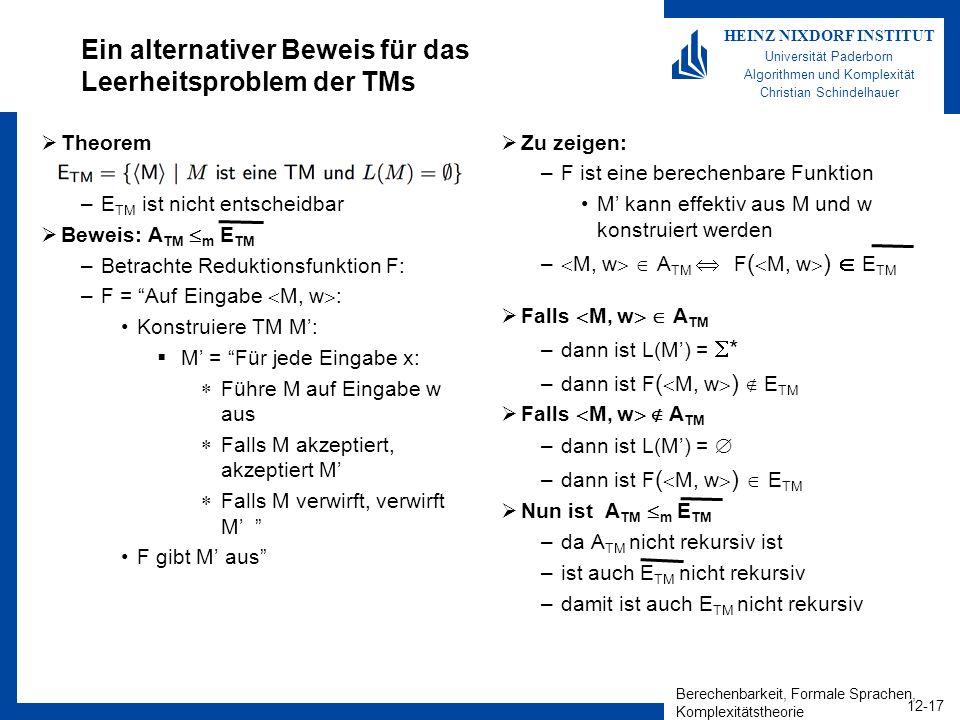 Berechenbarkeit, Formale Sprachen, Komplexitätstheorie 12-17 HEINZ NIXDORF INSTITUT Universität Paderborn Algorithmen und Komplexität Christian Schind