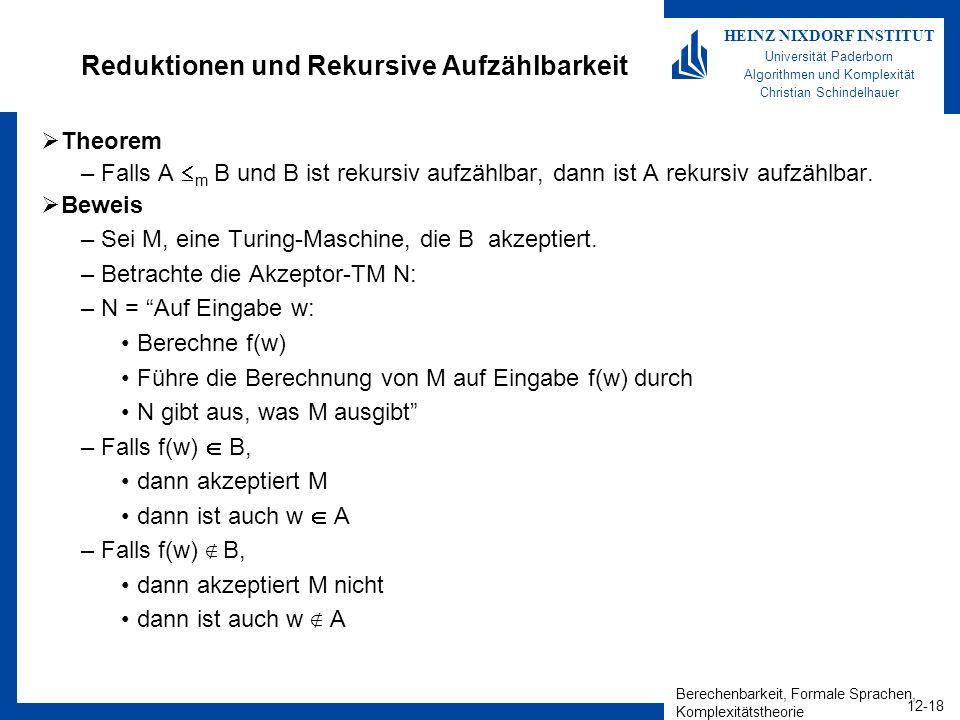 Berechenbarkeit, Formale Sprachen, Komplexitätstheorie 12-18 HEINZ NIXDORF INSTITUT Universität Paderborn Algorithmen und Komplexität Christian Schind