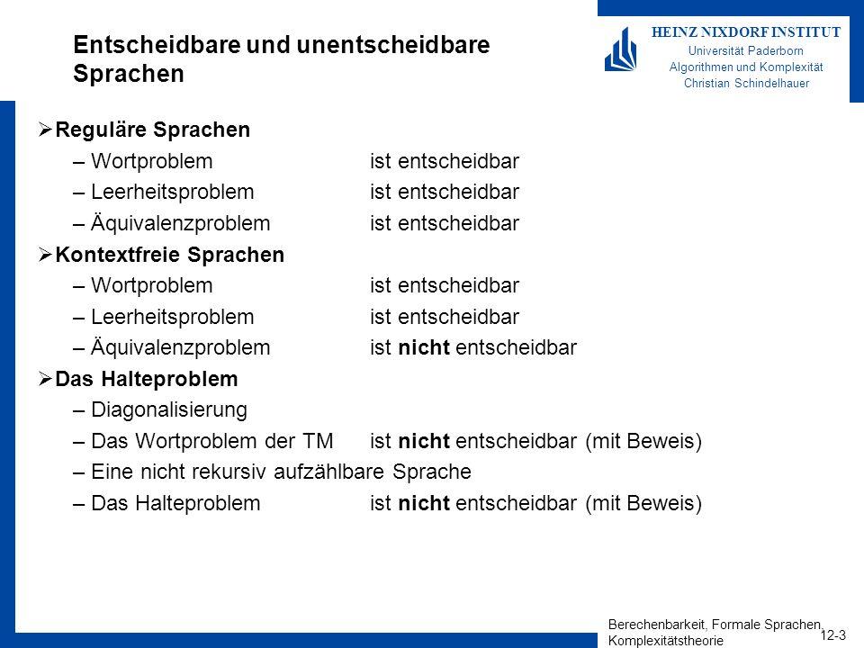 Berechenbarkeit, Formale Sprachen, Komplexitätstheorie 12-3 HEINZ NIXDORF INSTITUT Universität Paderborn Algorithmen und Komplexität Christian Schinde