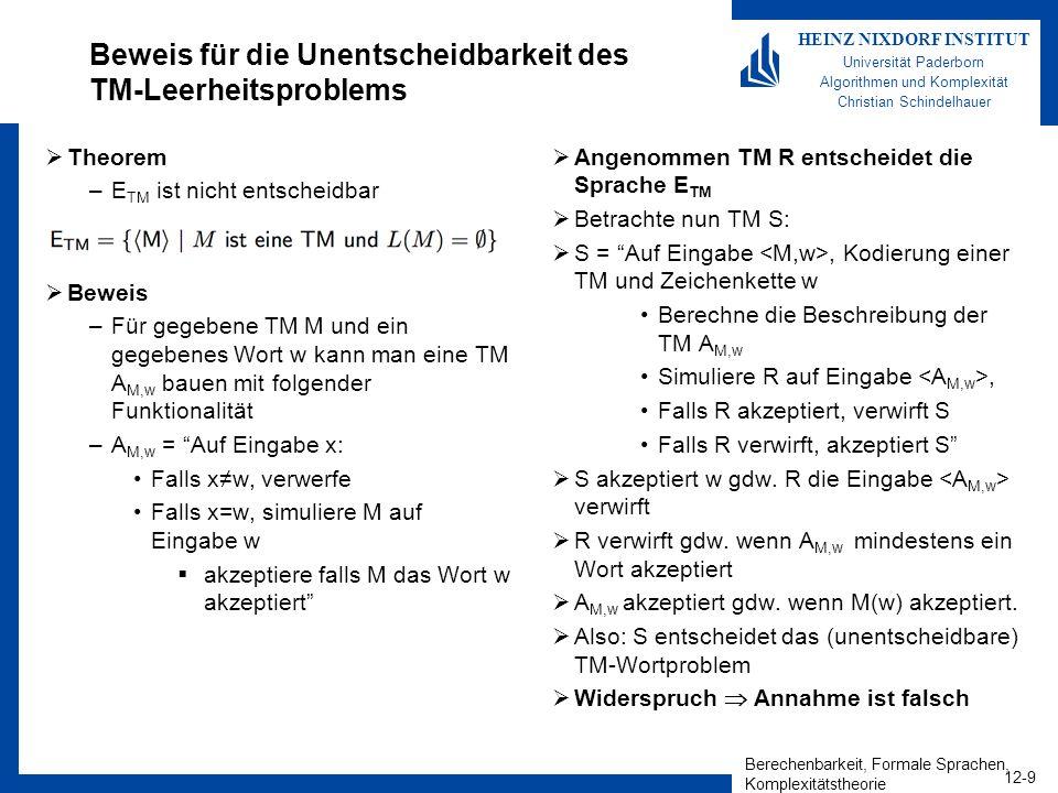 Berechenbarkeit, Formale Sprachen, Komplexitätstheorie 12-9 HEINZ NIXDORF INSTITUT Universität Paderborn Algorithmen und Komplexität Christian Schinde