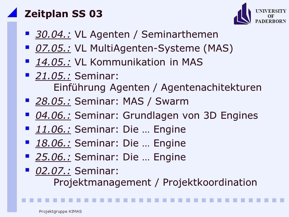 UNIVERSITY OF PADERBORN Projektgruppe KIMAS Zeitplan SS 03 30.04.: VL Agenten / Seminarthemen 07.05.: VL MultiAgenten-Systeme (MAS) 14.05.: VL Kommuni