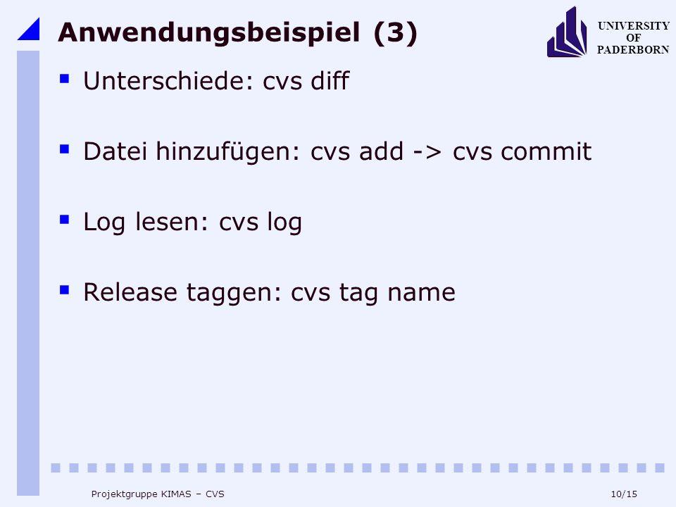 10/15 UNIVERSITY OF PADERBORN Projektgruppe KIMAS – CVS Anwendungsbeispiel (3) Unterschiede: cvs diff Datei hinzufügen: cvs add -> cvs commit Log lesen: cvs log Release taggen: cvs tag name