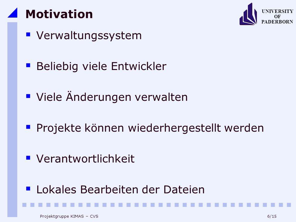 7/15 UNIVERSITY OF PADERBORN Projektgruppe KIMAS – CVS Inhaltsverzeichnis 1.