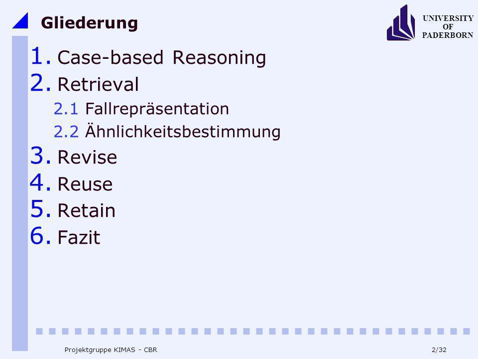 UNIVERSITY OF PADERBORN 2/32 Projektgruppe KIMAS - CBR Gliederung 1. Case-based Reasoning 2. Retrieval 2.1 Fallrepräsentation 2.2 Ähnlichkeitsbestimmu